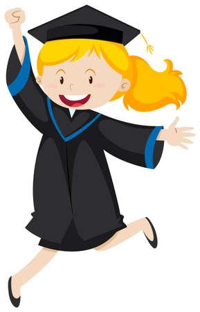 Girl in black graduation gown illustration