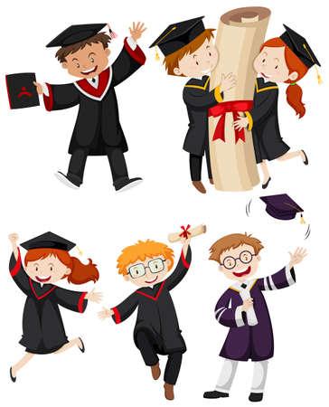 graduation gown: People in graduation gown  illustration Illustration