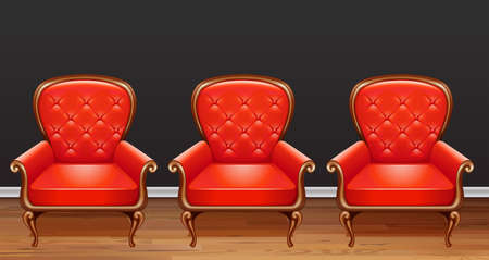 Three red armchairs in room illustration