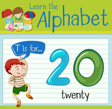 Flashcard letter T is for twenty illustration