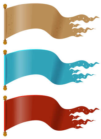 signal pole: Three flags in different colors illustration