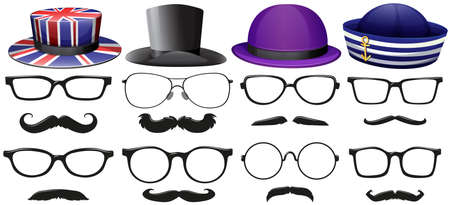 fashion glasses: Male fashion set with glasses and hats illustration