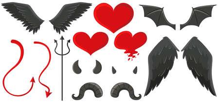 cuernos: alas de ángel y los cuernos del diablo ilustración