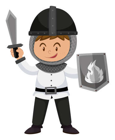 sheild: Kid in knight costume with weapons illustration