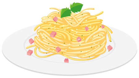Spaghetti with cream sauce illustration