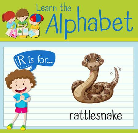 rattle snake: Flashcard letter r is for rattle snake illustration