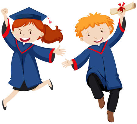 graduation gown: Boy and girl in graduation gown illustration