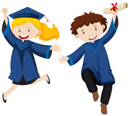 Graduation ceremony with two students illustration