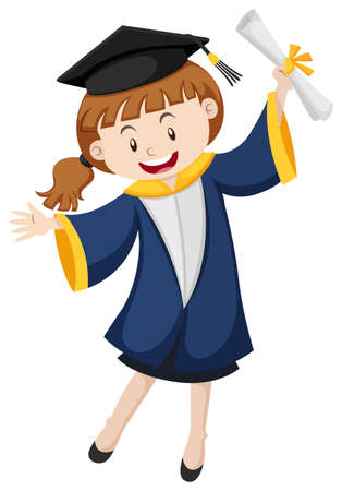 graduation gown: Girl in blue graduation gown illustration