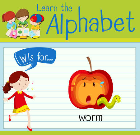Flashcard letter W is for worm illustration Illustration