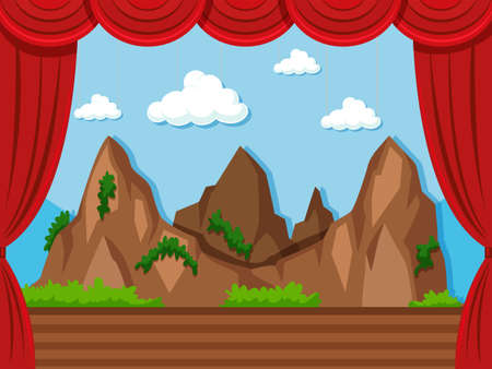 performance art: Stage background with mountain and grass illustration