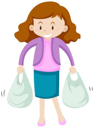 Mujer con dos bolsas de compras ilustración