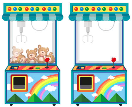 Arcade game machine with dolls illustration