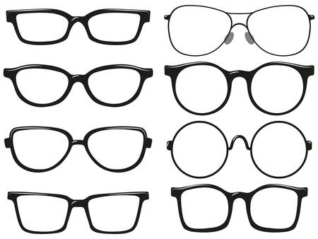 Different design of eyeglasses frames illustration