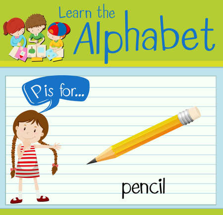 person writing: Flashcard letter P is for pencil illustration Illustration