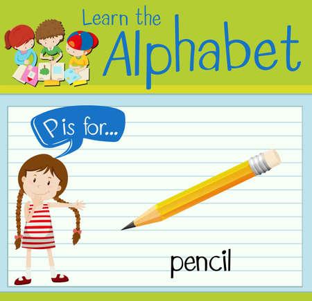 persona escribiendo: Grupos de tarjetas letra P es para el ejemplo del lápiz Vectores