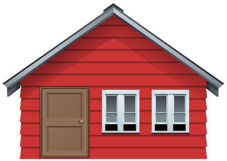 windows home: Red house with wooden door and two windows illustration Illustration