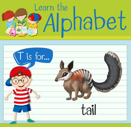 the tail: Flashcard letter T is for tail illustration