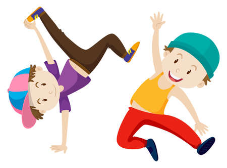 two boys: Two boys doing breakdance illustration