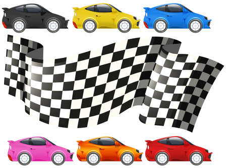 Racing cars and racing flag illustration