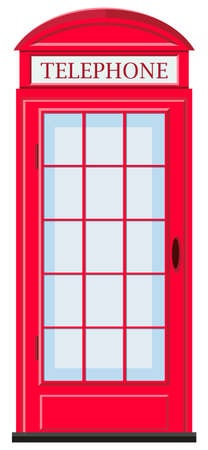 telephone booth: Red telephone booth with glass door illustration