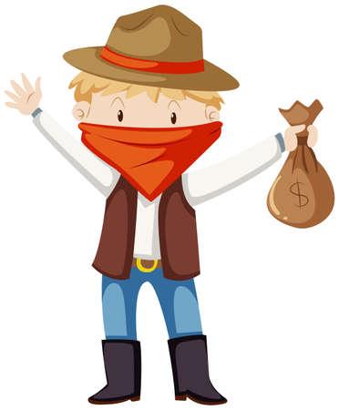 Kid in robber costume illustration Illustration
