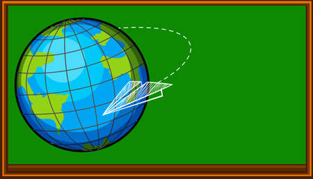 Planet earth on blackboard illustration Illustration