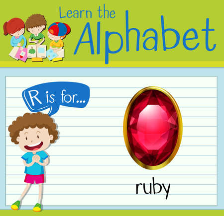 Flashcard letter R is for ruby illustration