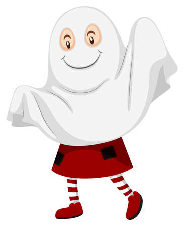 Little kid dressed up as ghost for halloween illustration