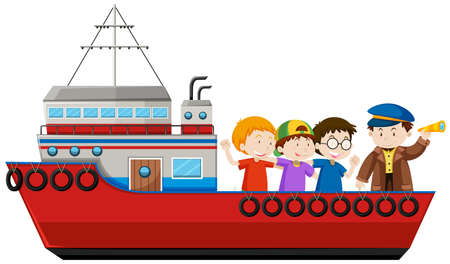 Captain and passengers on the ship illustration