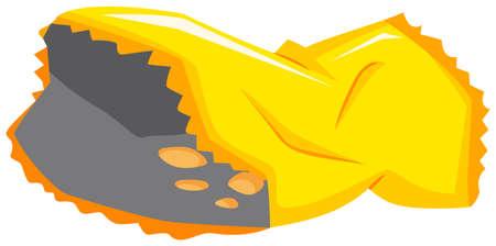 potato chip: Potato chip bag on the floor illustration