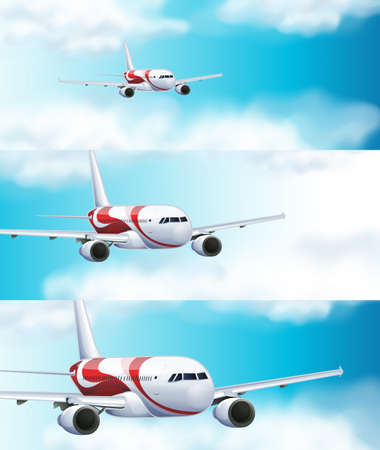 Three scenes with airplane in the sky illustration