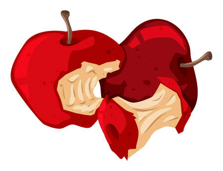 Rotten red apples on white illustration Illustration