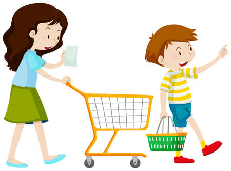 adolescent boy: Mother and son shopping illustration Illustration