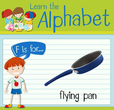Flashcard letter F is for frying pan illustration Illustration