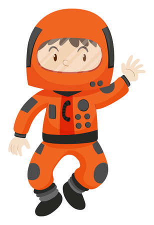 spacesuit: Kid in spacesuit waving hello illustration Illustration