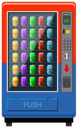 빨강 및 파랑 색상 그림에서 자동 판매기