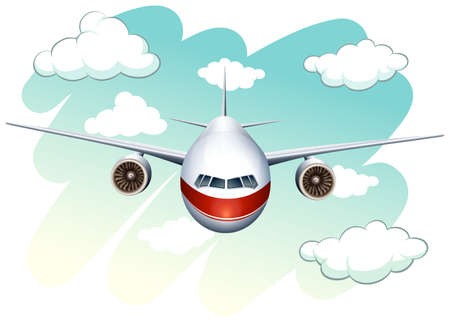 jet airplane: Aeroplane flying in the sky illustration