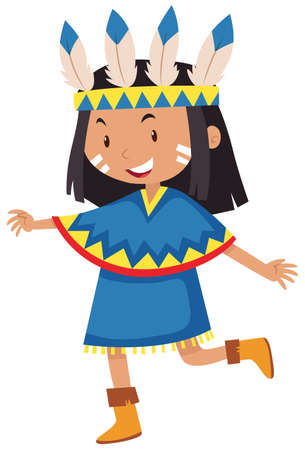 indian teenager: Little girl dressed as native american indian illustration Illustration