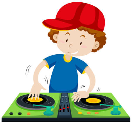 discjockey: DJ playing music at the station illustration