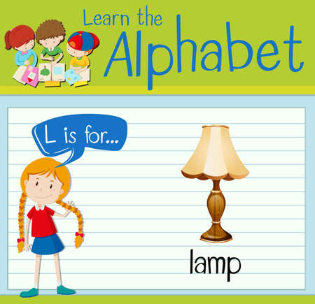 antique sleigh: Flashcard letter l is for lamp illustration