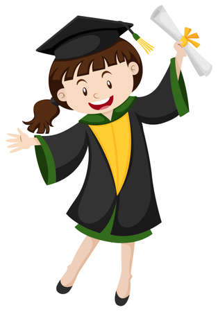 Graduation girl with degree illustration