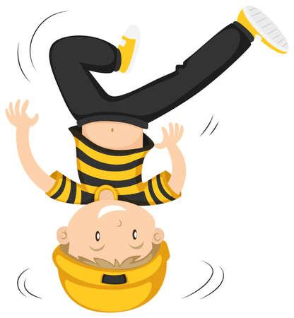 spin: Little boy doing head spin illustration Illustration