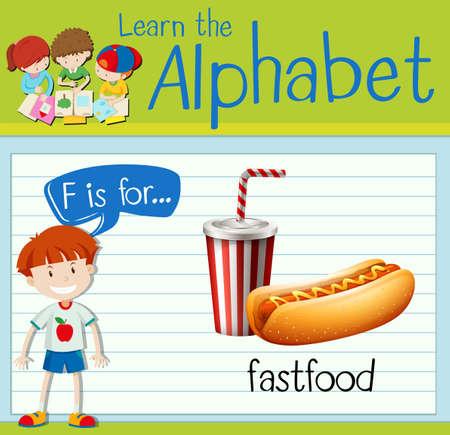fastfood: Flashcard letter F is for fastfood illustration