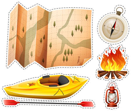 Camping sticker set with canoe and map illustration