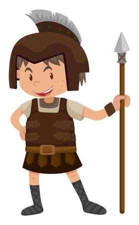 Kid in soldier costume illustration