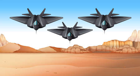 Three fighting jets flying over desert illustration