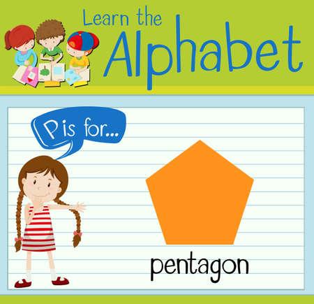 pentagon: Flashcard letter P is for pentagon illustration