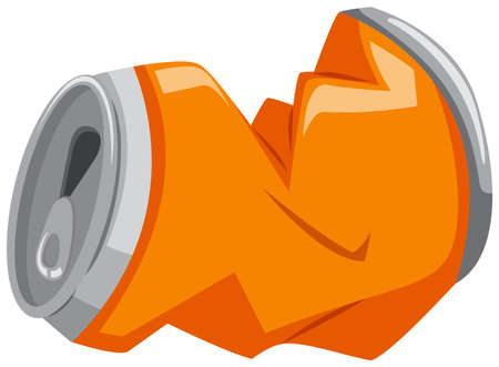 tin packaging: Used can in orange color illustration