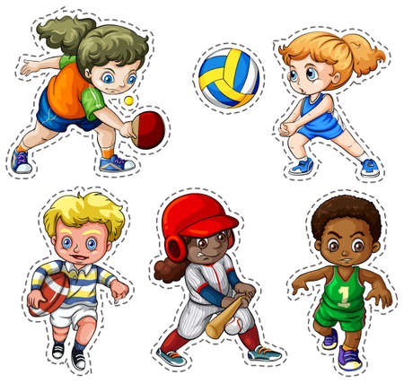 Kids playing different types of sports illustration
